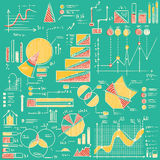 Business charts, graphs, stats doodles set. Hand drawn vector illustration Royalty Free Stock Photos
