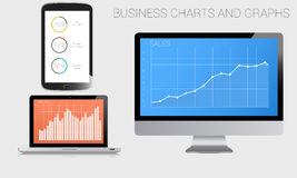 Business charts and graphs. A variety of business graphs and charts on different modern gadgets Royalty Free Stock Image