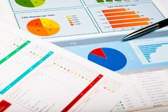 Business graphs and charts, business background on. Business charts graphs white closeup financial market Royalty Free Stock Images