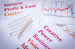 Business charts and graphs with words print out Stock Images