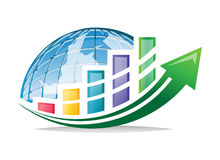 Business charts with green arrow and global Royalty Free Stock Images
