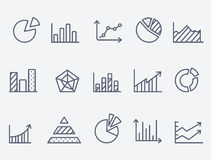 Business charts icons. Set of 15 Business charts icons. Thin lines stock illustration