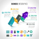 Business charts infographic. Set with 3d arrow and financial signs vector illustration Royalty Free Stock Photo