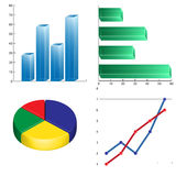 Business  charts infographics linear circular and column Royalty Free Stock Photo