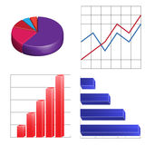 Business  charts infographics linear circular and column Royalty Free Stock Images