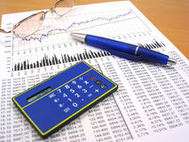 Business charts and office objects 4. Business charts, calculator, blue pen and glasses Royalty Free Stock Images