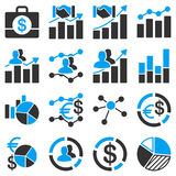 Business charts and reports icons Royalty Free Stock Image