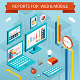 Business charts and reports on web pages, mobile Stock Photography