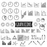 Business charts. Set of thin line graph icons Royalty Free Stock Image