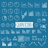 Business charts. Set of thin line graph icons Royalty Free Stock Photos