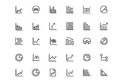 Business Charts Vector Line Icons 3. This icon set useful for business chart, Analytics and investments. It consist kind of all symbol that use in business Stock Image