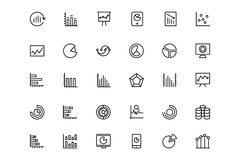 Business Charts Vector Line Icons 4 Royalty Free Stock Photo