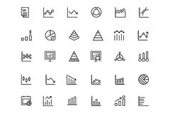 Business Charts Vector Line Icons 2. This icon set useful for business chart, Analytics and investments. It consist kind of all symbol that use in business Stock Images