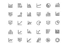 Business Charts Vector Line Icons 1. This icon set useful for business chart, Analytics and investments. It consist kind of all symbol that use in business Royalty Free Stock Image