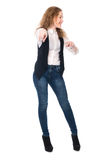 Business cheerful girl pointing her finger at the camera Stock Photography