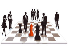 Business chess. People and a chessboard, business and competition concept Stock Image