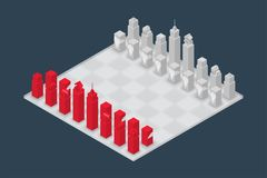 Business chess cube isometric 3d design set, Start Game concept. Idea illustration isolated on dark blue background Royalty Free Stock Photography