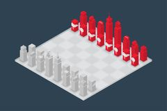 Business chess cube isometric 3d design set, Start Game concept. Idea illustration isolated on dark blue background Royalty Free Stock Photos