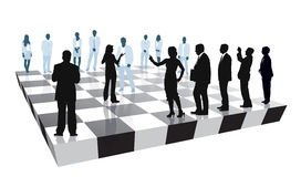Business chess. Group of people is playing the strategic business game vector illustration