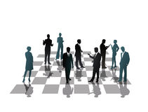 Business chess. An illustration of a chessboard with business people Royalty Free Stock Photography