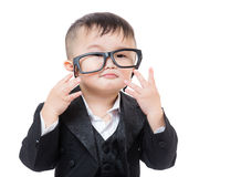 Business child wear glasses Royalty Free Stock Photos