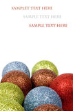 Business christmas card with christmas balls. Isolated on white stock photo
