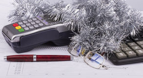 Business Christmas of payment terminal, calculator Stock Images