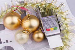 Business Christmas of a tables, payment terminal, Stock Photo