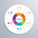 6 business circle infographic background template with data. Can Stock Photography