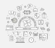 Business circle infographics thin lines template concept. Icons design for your product or design, web and mobile Stock Photo
