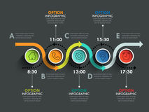 Business circle timeline banner. Modern business infographic. Infographic number options. Winding road timeline. Vector EPS 10 Stock Photos