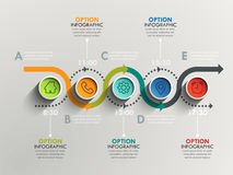 Business circle timeline banner. Modern business infographic. Infographic number options. Winding road timeline. Vector EPS 10 Stock Image