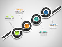 Business circle timeline banner. Modern business infographic. Infographic number options. Winding road timeline. Vector EPS 10 Stock Images