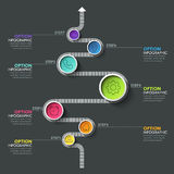 Business circle timeline banner. Modern business infographic. Infographic number options. Winding timeline. Web Design Element. Vector EPS 10 Stock Image