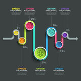 Business circle timeline banner. Modern business infographic. Infographic number options. Winding timeline. Web Design Element. Vector EPS 10 Royalty Free Stock Image