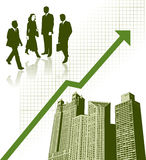 Business city. Illustration of business people, city buildings and upward trend development arrow Stock Photos