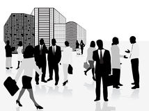 Business city. Vector illustration of business people and panorama of city Royalty Free Stock Image