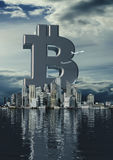Business city bitcoin Royalty Free Stock Photos
