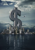 Business city dollar. 3D render of dollar symbol rising from modern city Stock Photography