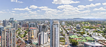 Business city  and huge buildings with green gardens. Royalty Free Stock Photos
