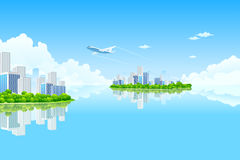 Business City Island Royalty Free Stock Images