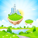 Business City on Island Stock Images