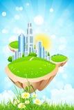 Business City on Island Stock Image