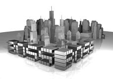 Business city render Royalty Free Stock Photography
