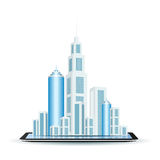 Business City on Tablet Computer Royalty Free Stock Images