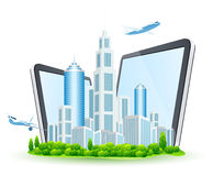 Business City with Two Tablet Computers and Two Airbuses Royalty Free Stock Images