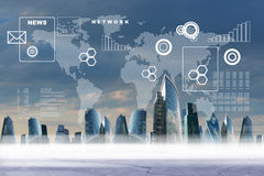 Business city with world map Stock Photo