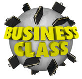 Business Class Briefcases Around World First Class Travel Flight. Business Class words around a globe or planet Earth to illustrate first class or special top Royalty Free Stock Images