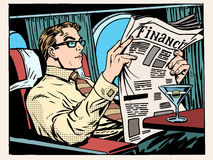 Business class plane businessman reads the press royalty free illustration