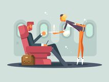 Business class on plane. Waitress brings champagne passenger. Vector illustration Royalty Free Stock Photos